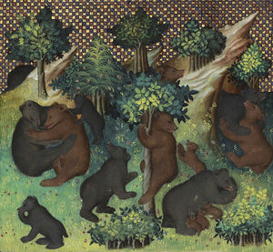 Bears in a forest, from the page a Medieval French illuminated manuscript