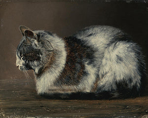 Antique painting of a sleeping cat. Fine art print