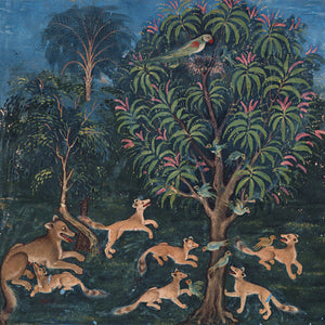 Foxes and parrots painting from a Persian / Indian book of animal fables. Fine Art Print
