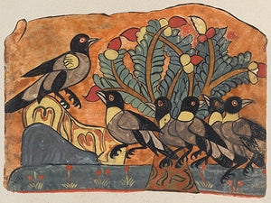 King of the Crows. Watercolour painting from an antique Arabic manuscript