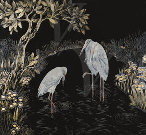 Japanese Style Painting of Three Storks. Japonisme. Exotic Birds Fine Art Print