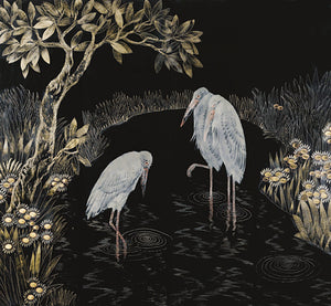 Japanese Style Painting of Three Storks. Fine Art Print