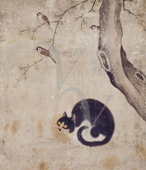 Cat watching birds in a tree. Korean painting. Fine Art print