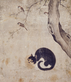 Cat watching birds in a tree. Antique Korean painting. Fine Art print