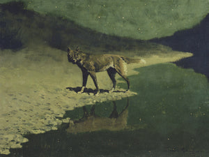 Moonlight Wolf, Painting by Frederic Remington . Fine art print