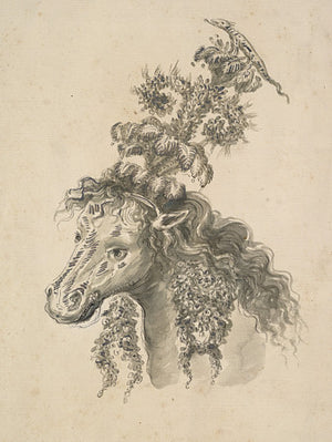 Italian antique drawing of a horse with a fantastical headdress