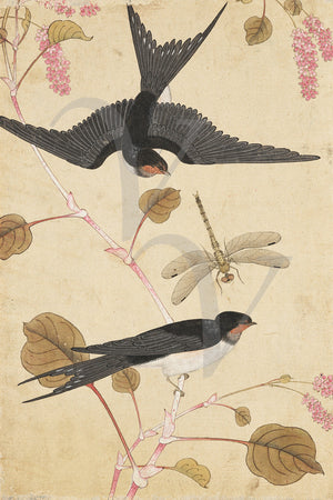 Birds, Blossoms and Dragonfly. Vintage painting Korea. Fine art print