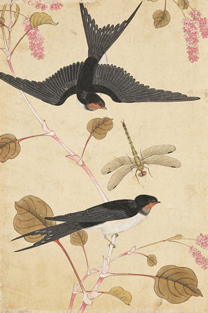 Birds and Blossoms. Antique Korean painting. Fine Art Print