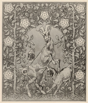Spring Goats. Art Nouveau nature illustration. Fine art print