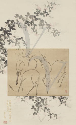 Three Deer. Japanese ink painting of by Ogata Korin. Fine art print