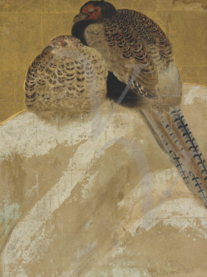 Pheasants in the snow. Japanese painting. Fine art print
