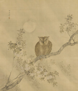 Owl and Full Moon. Japanese painting. Fine art print