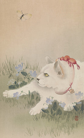 White Cat and Butterfly. Japanese woodblock fine art print
