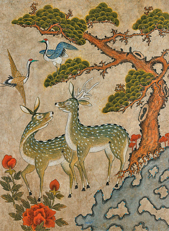 Deer and Birds. Korean Minhwa painting. Fine art print