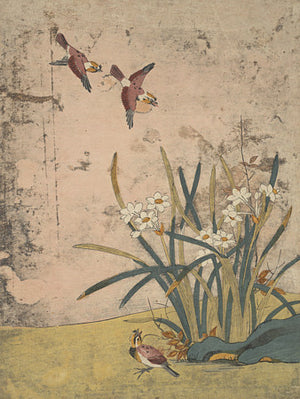 Birds and flowers. Vintage Korean nature painting. Fine art print
