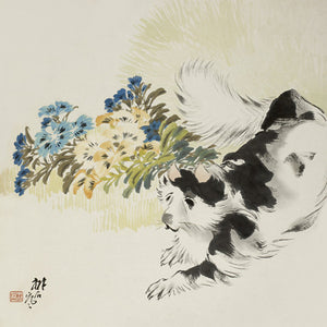 Cat in garden with flowers. Antique Chinese painting. Fine art print