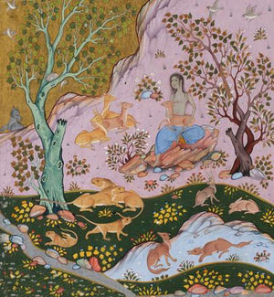 Painting from a Persian book of poetry by Nizami. Fine art print