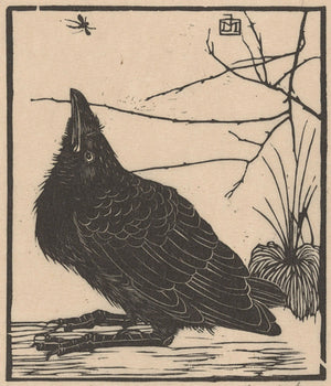 Black crow vintage woodblock artwork. Fine Art Print