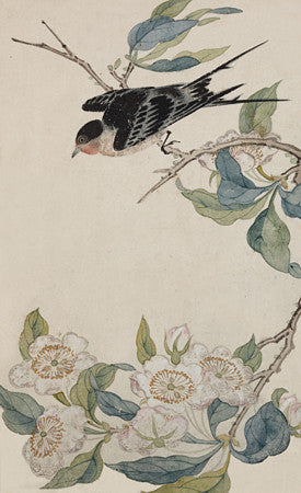 Birds and Blossoms. Antique Korean nature painting. Fine art print