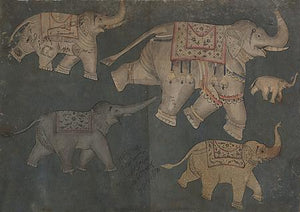 Elephants running. Indian, Persian Painting. Deccan. Fine Art Print