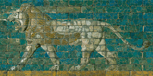 Ancient Babylonian tiled ceramic panel depicting a walking lion. Fine art print