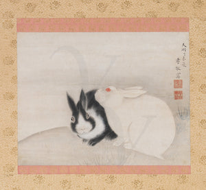 Two rabbits. Japanese painting. Fine art print