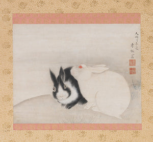Japanese painting of two rabbits. Fine art print