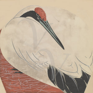 Sitting crane. Japanese bird. Fine art print