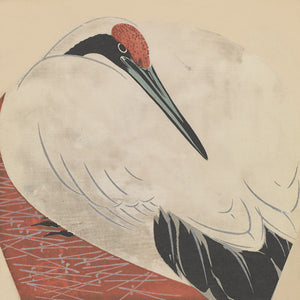 Japanese woodblock print of a crane. Fine art print