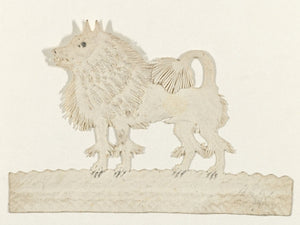 Keeshond dog antique paper cutout. Fine art print
