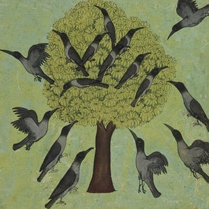 Crows and a tree. Indian painting. Fine art print