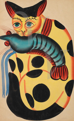 Indian, Kalighat, Cat Painting. Fine art print