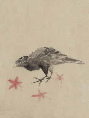 Crow. Japanese ink painting. Fine art print