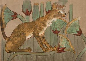 Egpytian cat amongst flowers, from the tomb of Khnumhotep II at Beni Hasan. Fine art print