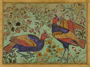 Indian, Deccan painting of two pheasants. Fine art print