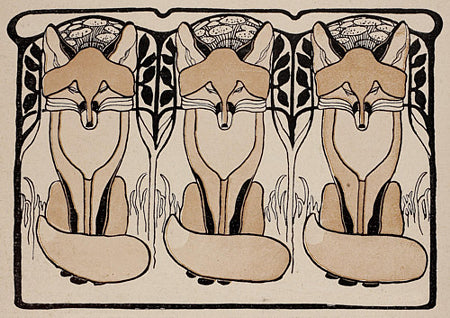 Three Foxes. Art Nouveau fox illustration. Fine art print