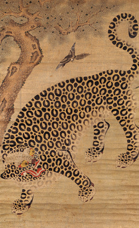 Korean painting of a leopard and a magpie. Fine art print