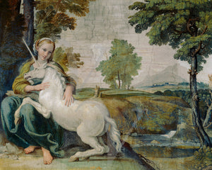 Painting of a woman with a  Unicorn in a landscape, by Domenichino. Fine art print
