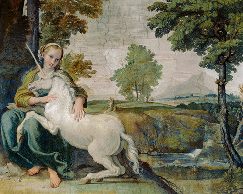 The Maiden and the Unicorn by Domenichino. Baroque fresco painting. Fine art print