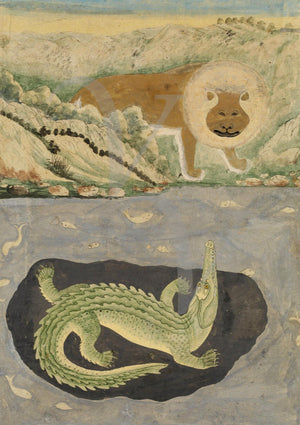 Lion and a crocodile. Vintage painting from Rajasthan, India. Fine art print
