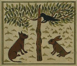 Crow, rabbit and cat Painting from an Ottoman Turkish manuscript on cosmology The Wonders of Creation