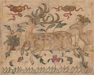 Persian animal art. A pair of stags. Iranian. Fine art print