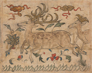 Painting of a pair of stags from a Persian maunscript (c.1300s) the Manafi' al-hayawan (On the Usefulness of Animals).