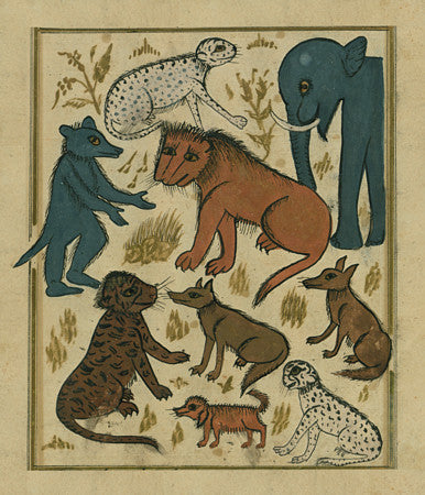 The Lion King and his Subjects. Ottoman painting. Fine art print
