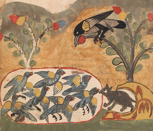 The mouse fress the doves. Painting from the Kalila wa Dimna. Fine art print