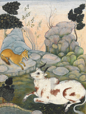 Dimna and the Ox, painting from a book of Persian animal fables, Kalīla wa-Dimna. Fine art print