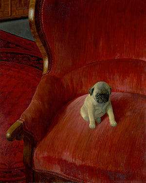 Siegfried by by Thomas Theodor Heine. Pug puppy on a red chair. Fine art print