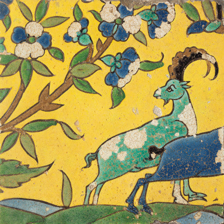 Persian tile design featuring goats and blossoms. Fine art print