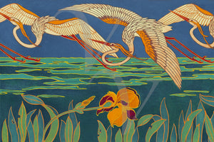Egrets and Irises. Vintage Art Nouveau bird painting. Fine art