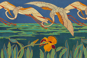 Egrets and Irises. Vintage Art Nouveau bird painting. Fine art print